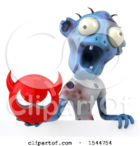 Clipart of a 3d Blue Zombie Holding a Devil, on a White Background - Royalty Free Illustration by Julos