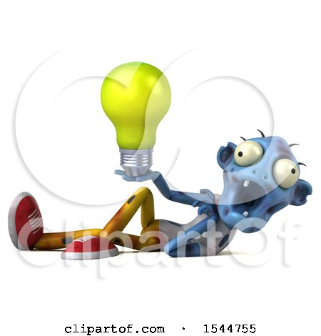 Clipart of a 3d Blue Zombie Holding a Light Bulb, on a White Background - Royalty Free Illustration by Julos