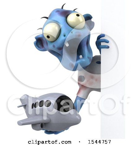 Clipart of a 3d Blue Zombie Holding a Plane, on a White Background - Royalty Free Illustration by Julos