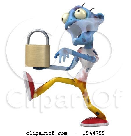 Clipart of a 3d Blue Zombie Holding a Padlock, on a White Background - Royalty Free Illustration by Julos