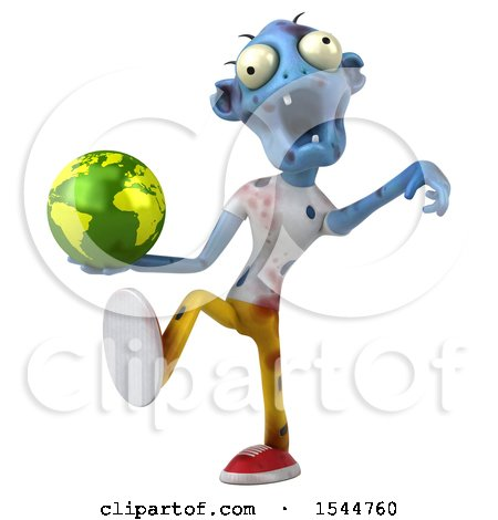 Clipart of a 3d Blue Zombie Holding a Globe, on a White Background - Royalty Free Illustration by Julos