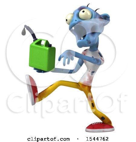 Clipart of a 3d Blue Zombie Holding a Gas Can, on a White Background - Royalty Free Illustration by Julos