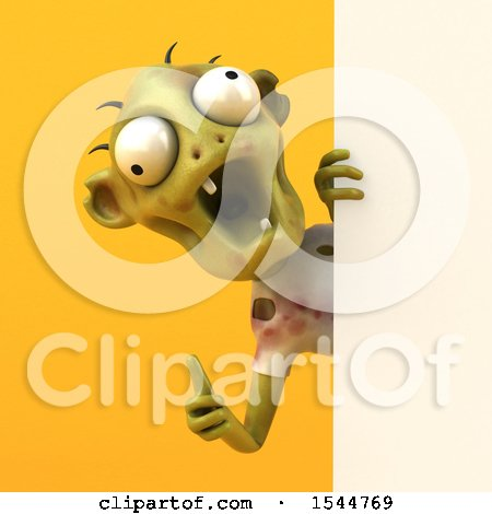 Clipart of a 3d Zombie Holding a Thumb Up, on a Yellow Background - Royalty Free Illustration by Julos