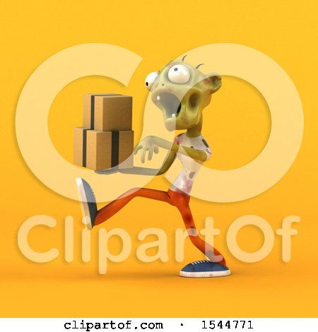 Clipart of a 3d Zombie Holding Boxes, on a Yellow Background - Royalty Free Illustration by Julos