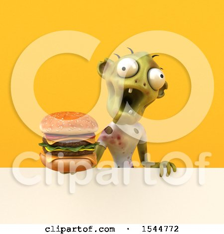 Clipart of a 3d Zombie Holding a Burger, on a Yellow Background - Royalty Free Illustration by Julos