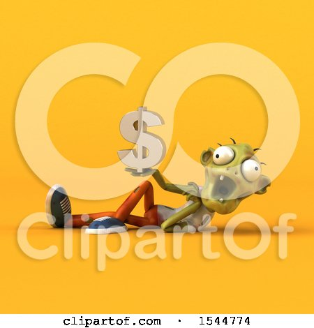 Clipart of a 3d Zombie Holding a Dollar Sign, on a Yellow Background - Royalty Free Illustration by Julos