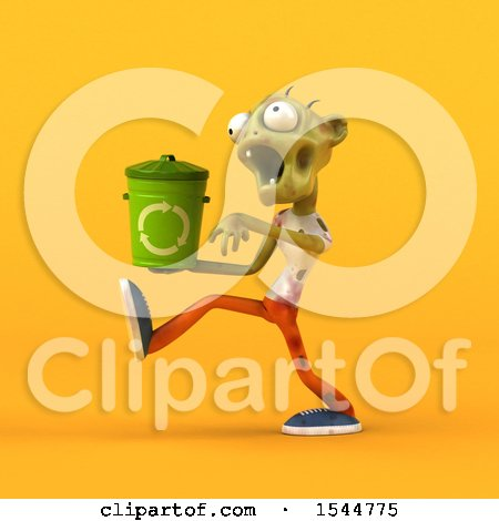 Clipart of a 3d Zombie Holding a Recycle Bin, on a Yellow Background - Royalty Free Illustration by Julos