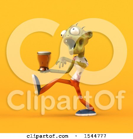 Clipart of a 3d Zombie Holding a Beer, on a Yellow Background - Royalty Free Illustration by Julos