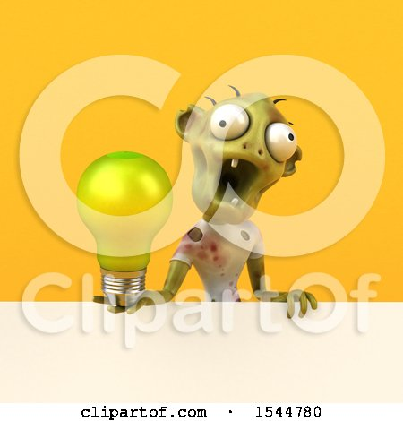 Clipart of a 3d Zombie Holding a Light Bulb, on a Yellow Background - Royalty Free Illustration by Julos