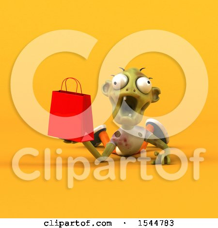 Clipart of a 3d Zombie Holding a Shopping Bag, on a Yellow Background - Royalty Free Illustration by Julos