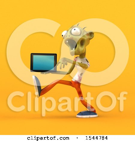 Clipart of a 3d Zombie Holding a Tablet, on a Yellow Background - Royalty Free Illustration by Julos