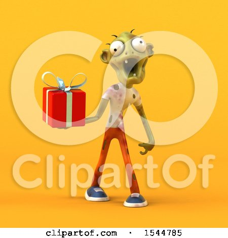 Clipart of a 3d Zombie Holding a Gift, on a Yellow Background - Royalty Free Illustration by Julos