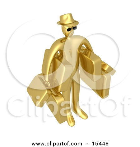 Golden Male Tourist In A Hat And Sunglasses, Carrying Armloads Of Heavy Luggage Clipart Illustration Image by 3poD
