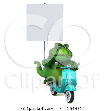 Clipart of a 3d Green T Rex Dinosaur Riding a Scooter, on a White Background - Royalty Free Illustration by Julos