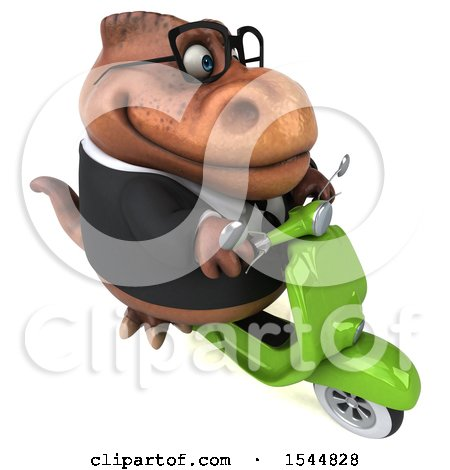 Clipart of a 3d Brown Business T Rex Dinosaur Riding a Scooter, on a White Background - Royalty Free Illustration by Julos