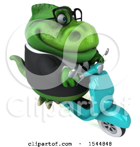 Clipart of a 3d Green Business T Rex Dinosaur Riding a Scooter, on a White Background - Royalty Free Illustration by Julos