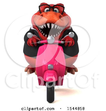 Clipart of a 3d Red Business T Rex Dinosaur Riding a Scooter, on a White Background - Royalty Free Illustration by Julos