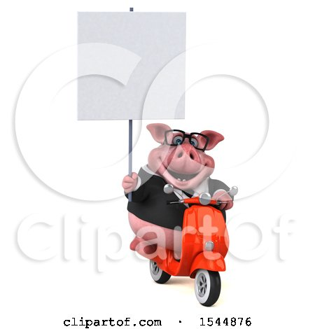 Clipart of a 3d Chubby Business Pig Riding a Scooter, on a White Background - Royalty Free Illustration by Julos