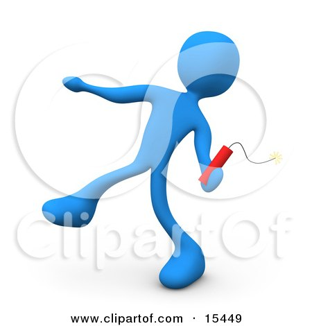 Mean Blue Person Throwing An Ignited Stick Of Red Tnt Dynamite Clipart Illustration Image by 3poD