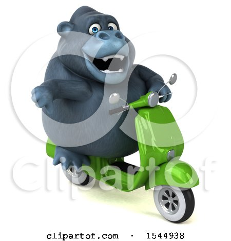 Clipart of a 3d Gorilla Riding a Scooter, on a White Background - Royalty Free Illustration by Julos