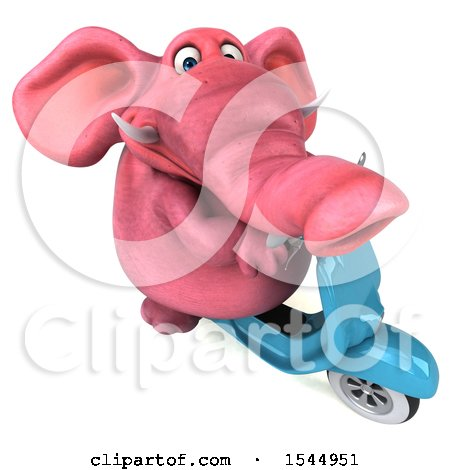 Clipart of a 3d Pink Elephant Riding a Scooter, on a White Background - Royalty Free Illustration by Julos