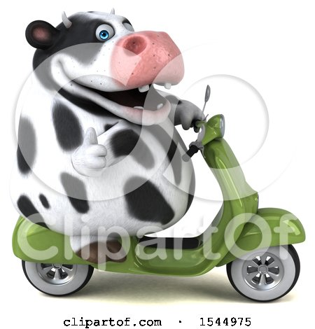 Clipart of a 3d Holstein Cow Riding a Scooter, on a White Background - Royalty Free Illustration by Julos
