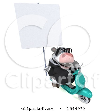 Clipart of a 3d Business Holstein Cow Riding a Scooter, on a White Background - Royalty Free Illustration by Julos