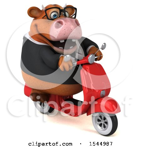 Clipart of a 3d Brown Business Cow Riding a Scooter, on a White Background - Royalty Free Illustration by Julos