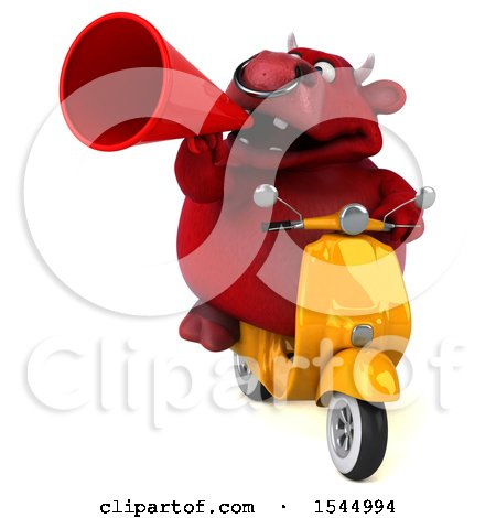 Clipart of a 3d Red Bull Holding a , on a White Background - Royalty Free Illustration by Julos