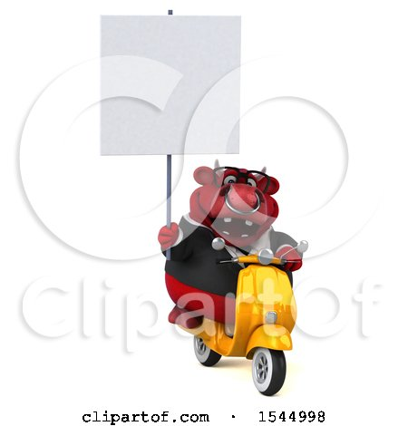 Clipart of a 3d Red Business Bull Holding a , on a White Background - Royalty Free Illustration by Julos