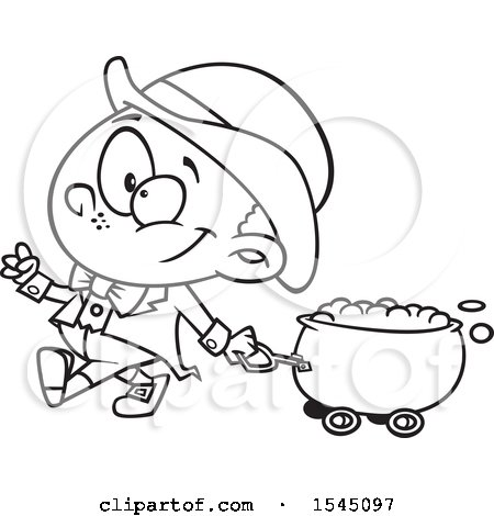 Clipart of a Lineart Leprechaun Boy Pulling a St Patricks Day Gold Wagon Cauldron - Royalty Free Vector Illustration by toonaday