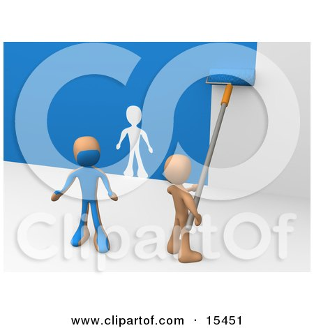 Person Using A Roller To Apply Blue Paint To A White Wall And Accidentally Painting A Friend, Leaving A White Outline On The Wall Clipart Illustration Image by 3poD