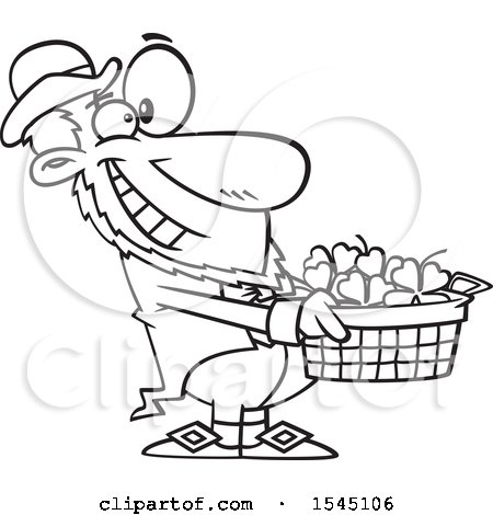 Clipart of a Lineart Leprechaun Holding out a Basket of St Patricks Day Shamrocks - Royalty Free Vector Illustration by toonaday