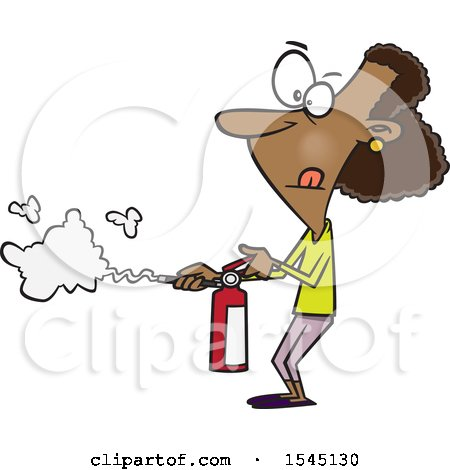 Clipart of a Cartoon Black Woman Using a Fire Extinguisher - Royalty Free Vector Illustration by toonaday