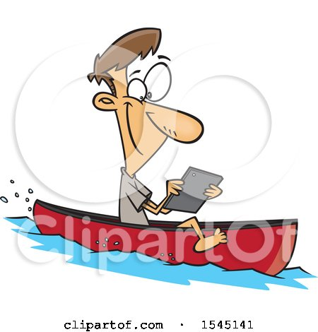 Clipart of a Cartoon Caucasian Man Streaming Videos on His Tablet While Floating in a Boat - Royalty Free Vector Illustration by toonaday