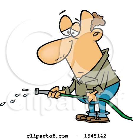 Clipart of a Cartoon Depressed Caucasian Man with a Faint Stream Coming out of His Garden Hose - Royalty Free Vector Illustration by toonaday