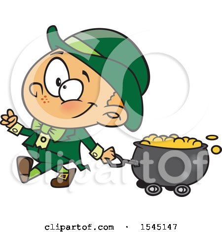 Clipart of a Cartoon Leprechaun Boy Pulling a St Patricks Day Gold Wagon Cauldron - Royalty Free Vector Illustration by toonaday