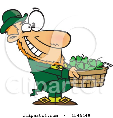Clipart of a Cartoon Leprechaun Holding out a Basket of St Patricks Day Shamrocks - Royalty Free Vector Illustration by toonaday