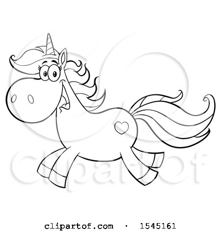 Clipart of a Black and White Happy Running Unicorn with a Heart Marking - Royalty Free Vector Illustration by Hit Toon