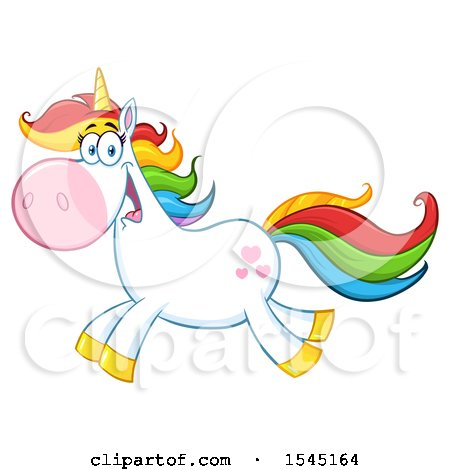 Clipart of a Happy Colorful Running Unicorn with Hearts - Royalty Free Vector Illustration by Hit Toon
