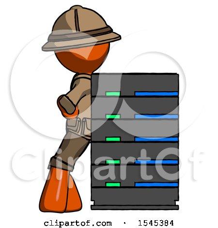 Orange Explorer Ranger Man Resting Against Server Rack by Leo Blanchette