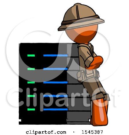 Orange Explorer Ranger Man Resting Against Server Rack Viewed at Angle by Leo Blanchette