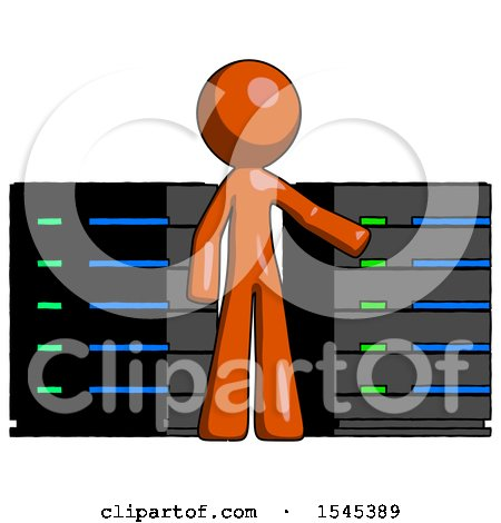 Orange Design Mascot Man with Server Racks, in Front of Two Networked Systems by Leo Blanchette