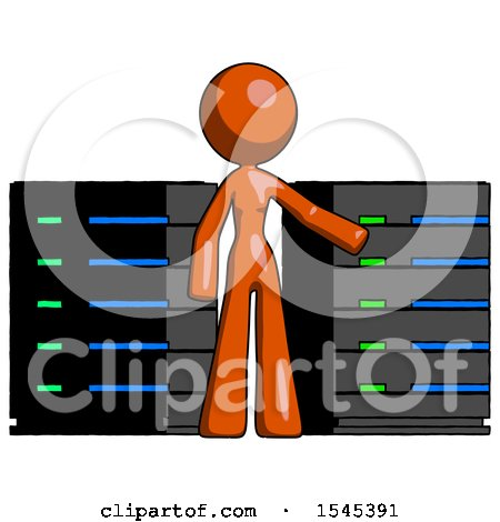 Orange Design Mascot Woman with Server Racks, in Front of Two Networked Systems by Leo Blanchette