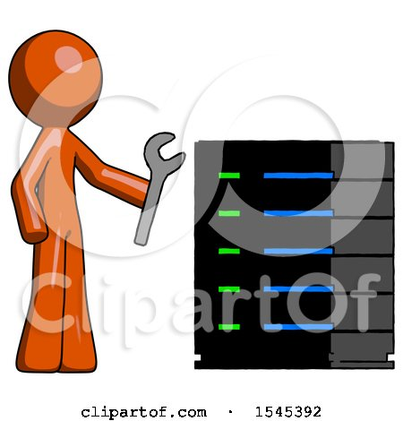 Orange Design Mascot Man Server Administrator Doing Repairs by Leo Blanchette