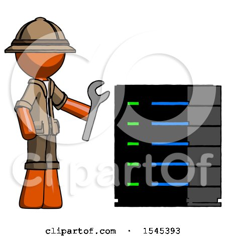 Orange Explorer Ranger Man Server Administrator Doing Repairs by Leo Blanchette