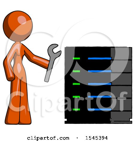 Orange Design Mascot Woman Server Administrator Doing Repairs by Leo Blanchette