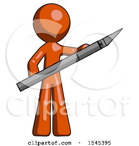 Orange Design Mascot Man Holding Large Scalpel by Leo Blanchette