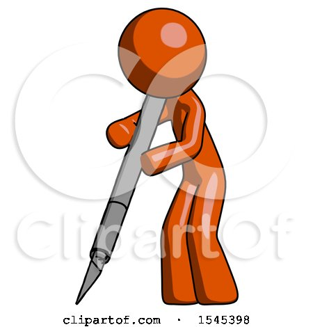Orange Design Mascot Man Cutting with Large Scalpel by Leo Blanchette