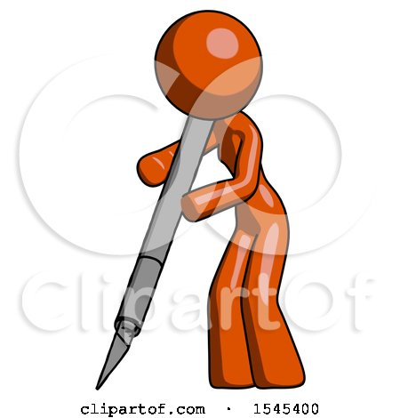 Orange Design Mascot Woman Cutting with Large Scalpel by Leo Blanchette